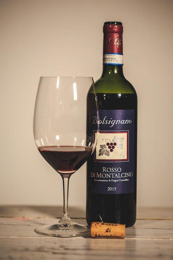 Rosso di Montalcino DOC met glas